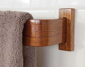 "18"" Walnut Towel Bar - Bentwood Towel Bar - 18 inch Solid Wood Arc Towel Bar - Modern Walnut Towel Rack"