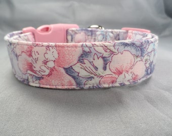 Pretty Pink & Purple Flowers Dog Collar