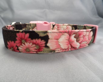 Pink Peonies Dog Collar