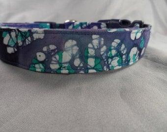 Dog Days Blue Polka Dot Batik Collar