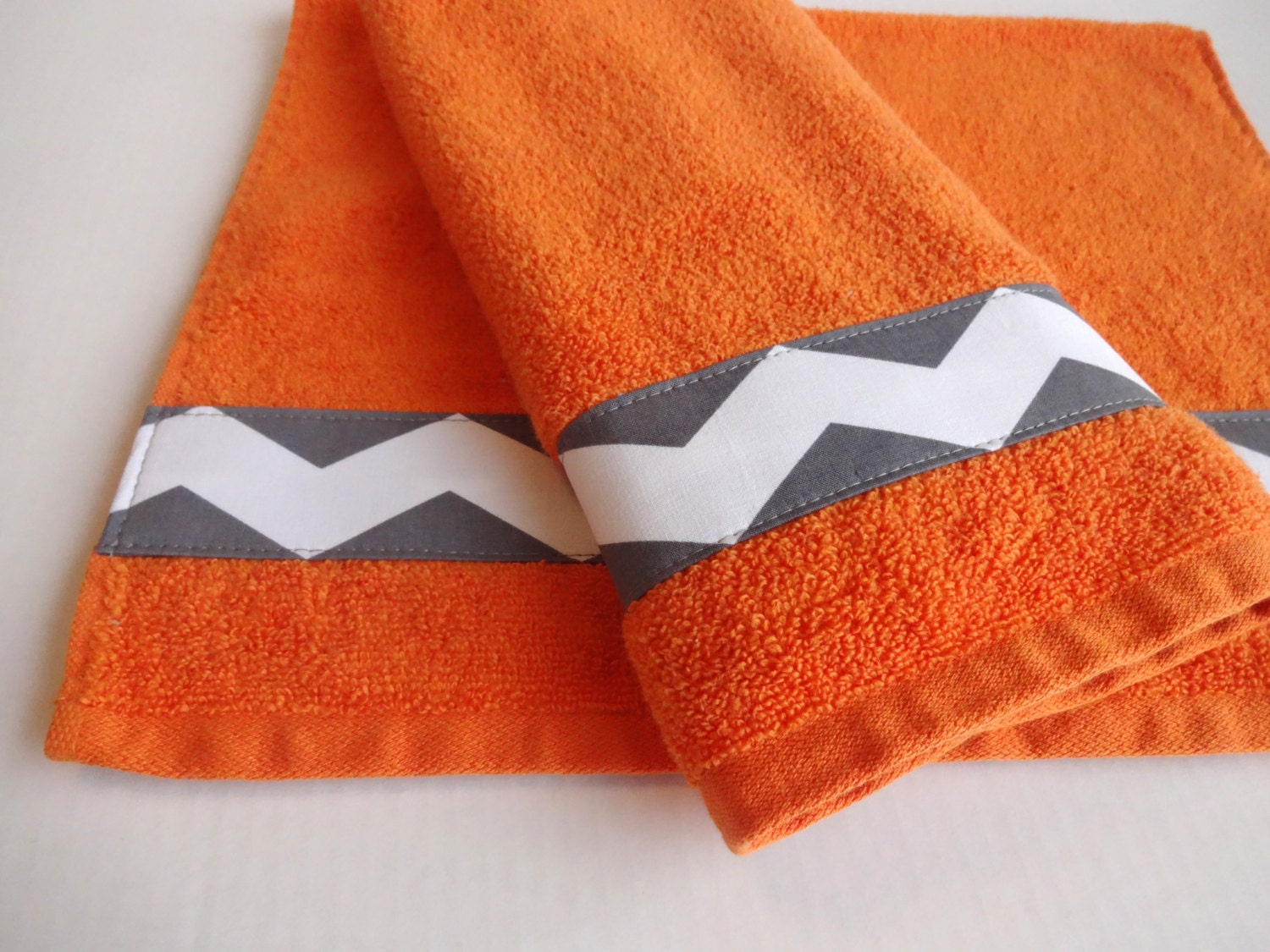 Orange Towel Set Grey Chevron Hand Towels Decorated By