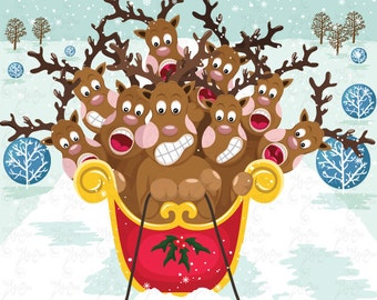 Christmas ClipArt,Cute Christmas Reindeer, Suprise Christmas, Reindeer Cm028 perfect for cards, invitation, scrapbooking and all paper craft