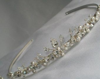 Handmade bridesmaids wedding bridal tiara Swarovski crystals pearl and diamante dainty