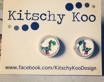 Yoshi glass earrings. Surgical steel geek kitsch earrings. Hypoallergenic.