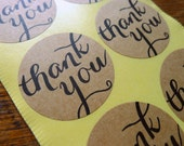 Kraft Thank You Stickers / Natural Brown Thank You Labels
