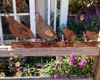 Metal sculpture quail
