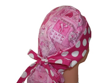 Surgical Scrub Hat - Scrub Cap -  Tie Back - Front Fold Ponytail Scrub Hat - Pink Ribbon Hope Dots - 2nd Item Ships FREE