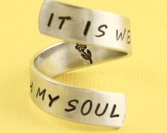 It Is Well With My Soul Ring - Flower Ring - Silver Ring - Size 7 Ring - Size 8 Ring - Adjustable Ring - Custom Ring - Faith Ring - Peace