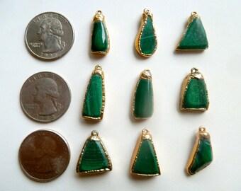 Vintage Malachite Pendants Coated in 24 Carat Gold
