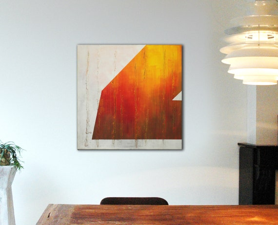 """Original Abstract painting in Sunny Interior Orange - Acrylic painting - 31,5"""" (80cm) x 31,5"""" (80cm) - Free shipping"""