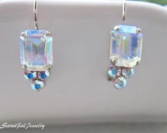 Vintage Crystal Earrings, AB clear Swarovski Crystal, Silver plated earrings, Wedding jewelry, dangle earrings, Bridesmaid Gift,