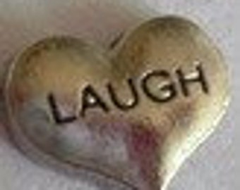 Laugh Silver Heart CH056 Floating Charm for Glass Memory Lockets