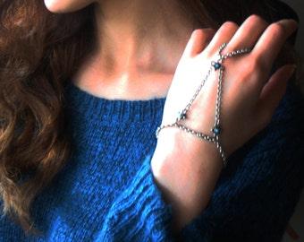 Silver slave bracelet, bracelet ring, slave ring, ring connected to bracelet.