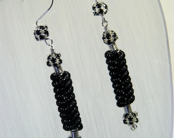 Black Coil Earrings