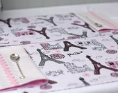 kids placemat, pink tea party, Paris placemat, lunch placemat, fabric lunch mat, cotton napkins, pink & black, Eiffel tower, Paris chic