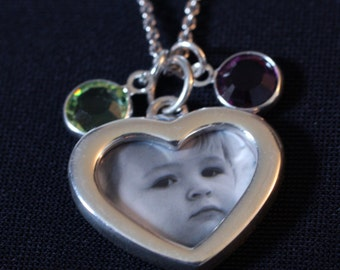 Sterling Silver Two-Sided Custom Photo Heart Pendant Necklace