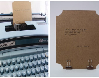 YEATS Quote Card-- Typed on Vintage Typewriter -- Inspirational Poetry Letterpress Typography
