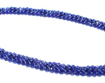 Handmade Bead Woven Necklace in Bold Blue