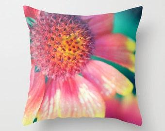 """Throw Pillow Cover - Summer Beauty - 16""""x16"""" 18''x18'' 20''x20'' Photography 100% Spun Polyester blossom pink yellow nature garden flower"""