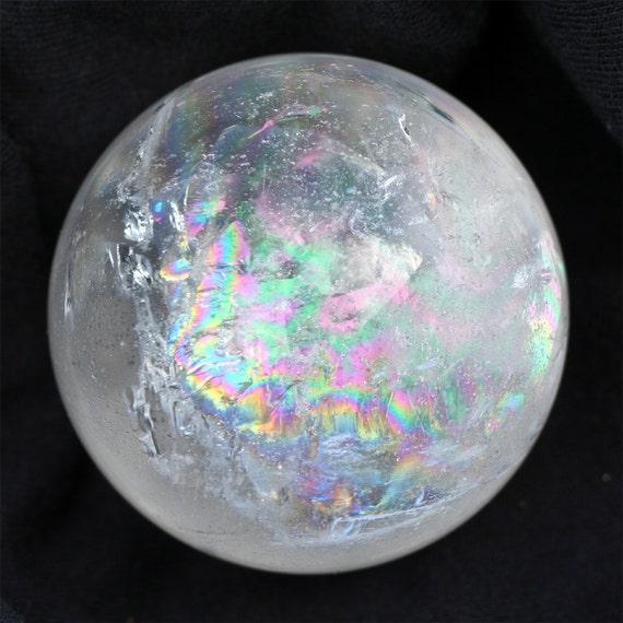 Rainbow Quartz Stone : Quartz crystal ball natural rainbow sphere wicca