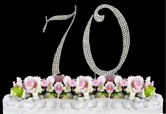 New Large Rhinestone Number 70 Cake Topper 70th Birthday