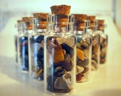 Set of 10 Gemstone Vials Glass Jars Lucky Charm Minerals Healing Peace Rocks Treasure Hobbit Fortune Geology Collectible Gem Gift