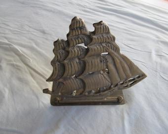 Vintage Brass Ship BOOKEND