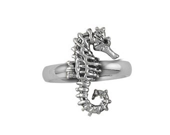Solid Sterling Silver Seahorse Ring SE3-R