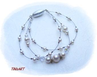 Filigree dreihreihiges bracelet with pearls