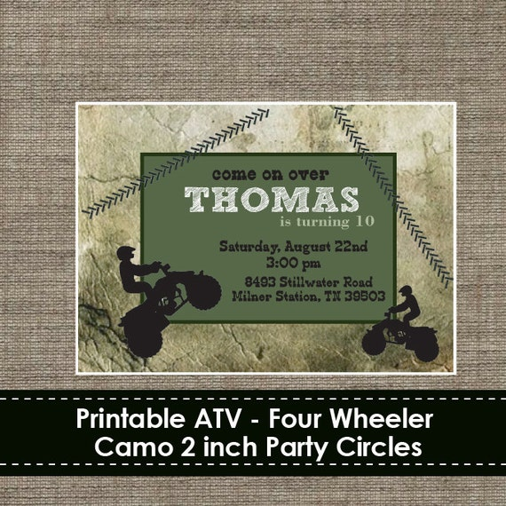 atv four wheeler camo invitation diy printable