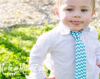 Blue chevron tie