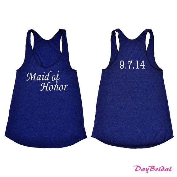 Maid Of Honor Tank Top With Personalized Wedding Date. Bridesmaid Shirt. Bride Gift. Bachelorette Party. Future Mrs. Mother of the bride