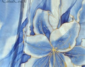 """Hand painted  silk scarf """"Blue lilies""""   manual list of silk, Hand painted silk scarf"""