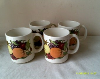 Set of Four Regency Club Heavy Coffee Tea Mugs Cups with Fruit, Stoneware Mugs, Stoneware Cups