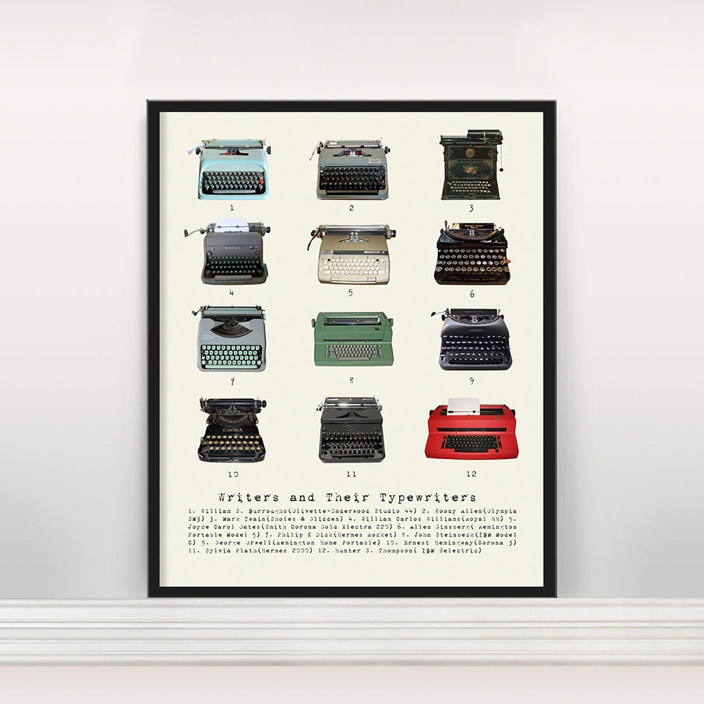 Writers and Their Typewriters Literary Poster History of