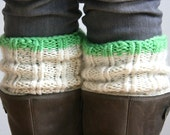 The Chunky Boot Cuff - Made with Fair Trade Wool - Cream Neutral White Buff Ivory - Boot Toppers - Neon Green Stripe lime green. plus sizes
