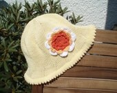 Hand knitted trendy baby sun hat  to fit 612 months  100 cotton yarn  trendy Summer colours