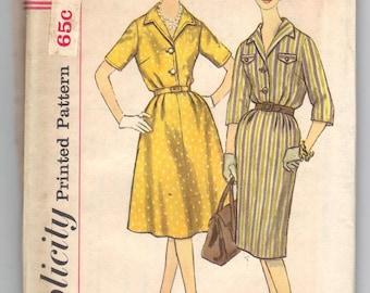 3758 * Simplicity 1960s Flared or Slim Skirt Slenderette Dress Vintage Sewing Pattern UNCUT Size 18 1/2