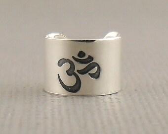 Wide Hand Stamped Om Cartilage Ear Cuff 925 Single Earring Sterling Silver Jewellery