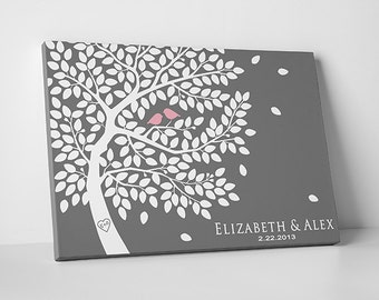 Alternative Wedding Guest Book - Wedding Tree Save the Date - up to 300 Signatures - Gallery Wrapped Canvas - 16x20 20x30 & 24x36 Inches