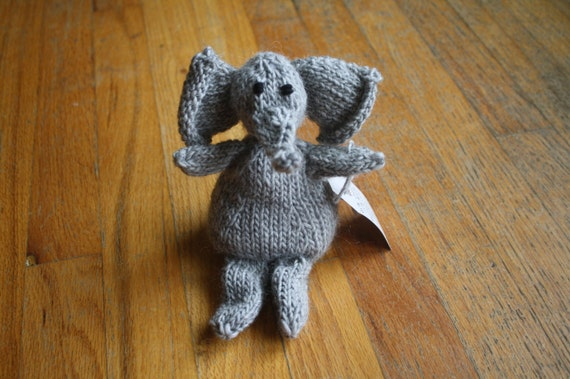 Ready to Ship Hand Knit Gray Elephant Plush Doll with Black Eyes
