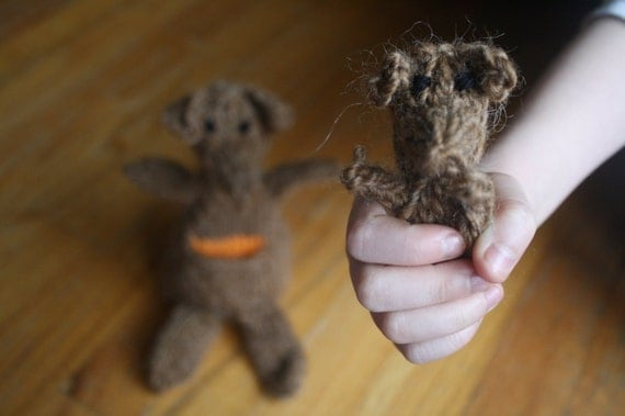 Ready to Ship Hand Knit Chestnut Brown Kangaroo Plush Doll with Baby in Pouch