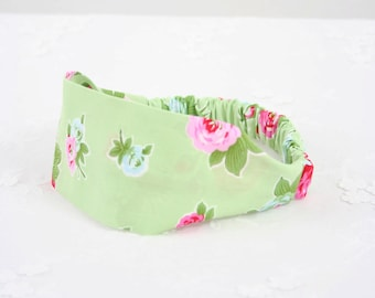 GREEN HEADBAND - Flower Headband - Cute Headband - Cloth Headband - Flower Hairband - Elastic Headband