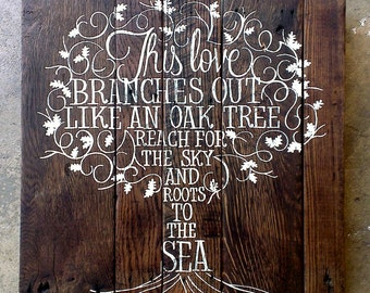 love like a tree..CUSTOM hand painted wooden SIGN