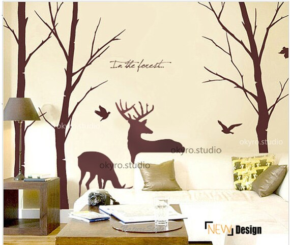 Deer wall decal wall sticker wall decals wall by isabeljia for Cadre floral mural