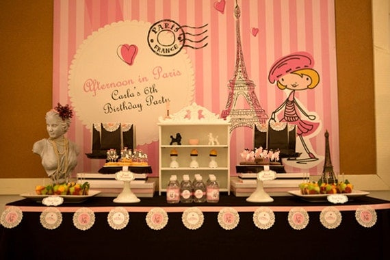 Afternoon in paris party theme printables - French themed table decorations ...