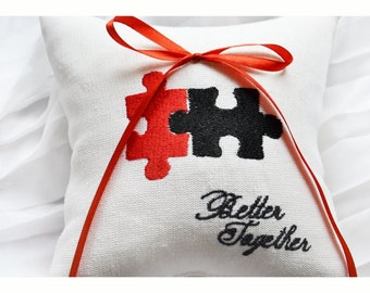 Embroidered Wedding ring pillow , puzzle wedding pillow ,personalized  ring pillow, ring bearer pillow ,Custom embroidery (R90)