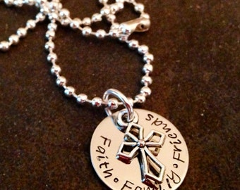 Family Faith Friends Hand Stamped Necklace with cross charm personalized necklace with cross charm religious gift teacher gift