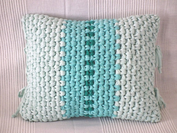 Items similar to mint turquoise crochet pillow cover for Cojines de trapillo