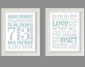 Nursery Art Print - Baby Boy Nursery Decor - Baby Birth Stats -  Gray And Blue - Set Of Two Prints